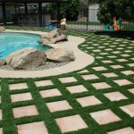 Backyard Paver Ideas Grass Framed Paver Backyard Curved Swimming Pool Large Backyard Unique Sclupture