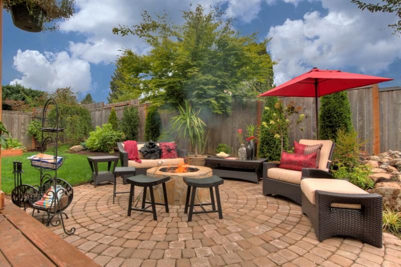 backyard paver ideas grass red corliving square patio umbrella 5 piece black fireset deep seating sunbrella chair black firepit table stools
