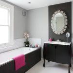 Bathroom Color Combinations Black And Grey Bathroom Small Black Bathroom Vanity Nice Oval Mirror Towel Ring Bathtub With Black Tile Large Privacy Window