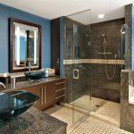 Bathroom Color Combinations Blue And Brown Color Scheme Shower Tub Vessel Sinks Privacy Window Shower Glass Door Unique Glass Sinks