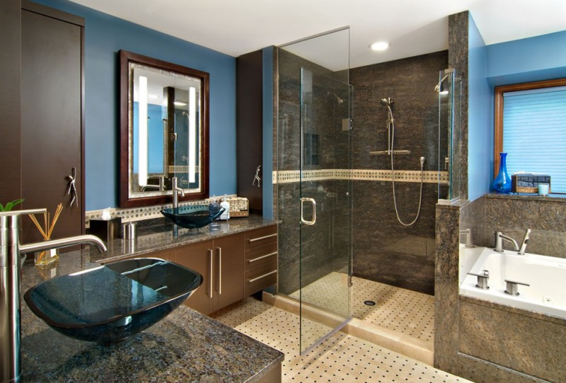 Bathroom Color Combinations Blue And Brown Scheme Shower Tub Vessel Sinks Privacy Window Gl