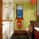 Bathroom Color Combinations Green Orange Brown And Black Bathroom Small Window With Shade Polka Dots Tile Cute Wall Decor