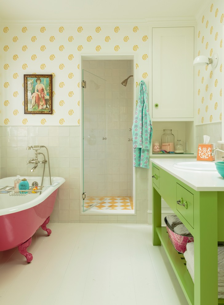 bathroom color combinations pink bath tub green vanity white sink patterned wall orange and white shower tile single glass door mounted cabinet