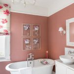 Bathroom Color Combinations White Cabinets Marble Countertops White Tile Claw Foot Tub Vessel Sink Pink Wall Marble Floor
