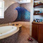 Beach Themed Bathroom Decor Kingston Brass Shower Head With Ceiling Mounted Shower Arm Petite Whirlpool Jetted Bathtub Wood Mounted Shelf