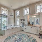 Beach Themed Bathroom Decor Ocean Or Seaglass Rug In Round Powder Room Large Shower Area With Glass Door Bathtub