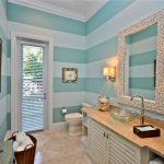 Beach Themed Bathroom Decor Small Shells Square Mirror Frame Glass Sink Blue Wall Beautiful Candle Holder Glass Door With Shutter