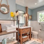 Beach Themed Bathroom Melissa Decorative Mirror Beach Wooden Vanity With White Sink Rectangular Mirror Bathroom Supplies Shelf