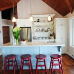 Beadboard Kitchen Island Chrome Torpedo Pendant Homer Drop In Handcrafted Bar Prep Sink Wood Floor And Ceiling Pop Red Barstools