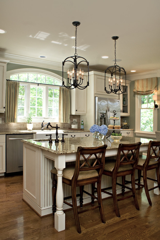 beadboard kitchen island hastings 6 light pendants subway tile backsplash traditional barstool granite countertop kitchen window with curtain