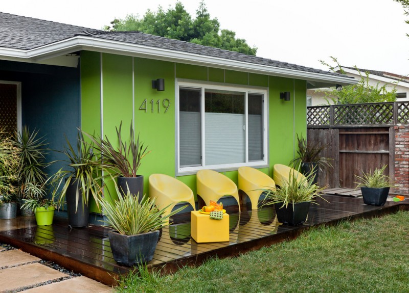 best deck paint grass decorative plants shiny floor modern chairs green walls midcentury deck fench