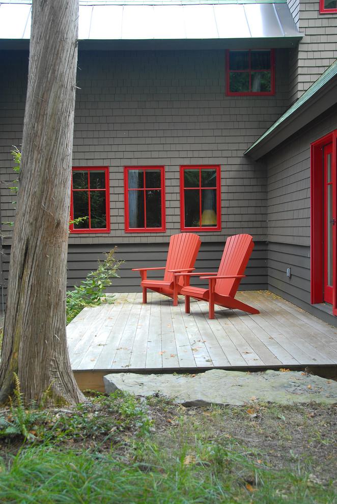 best deck paint grass red chairs windows dark walls rustic deck