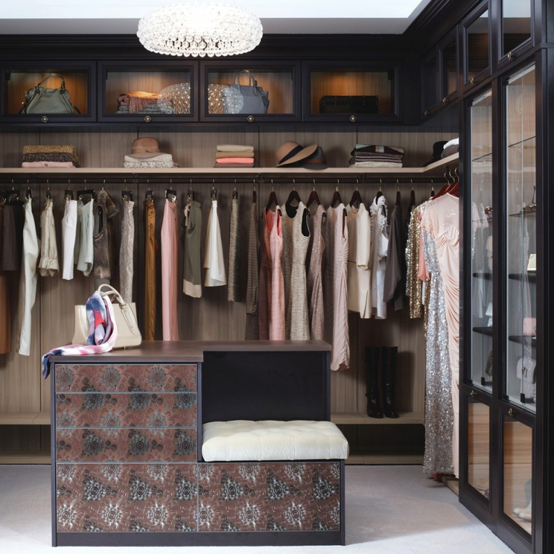 big walk in closet chandelier clothes shelves contemporary style bedroom