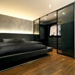 Big Walk In Closet Wood Floor Black Bed Pillows Ceiling Lights Drawers Curtain Clothes Industrial Bedroom