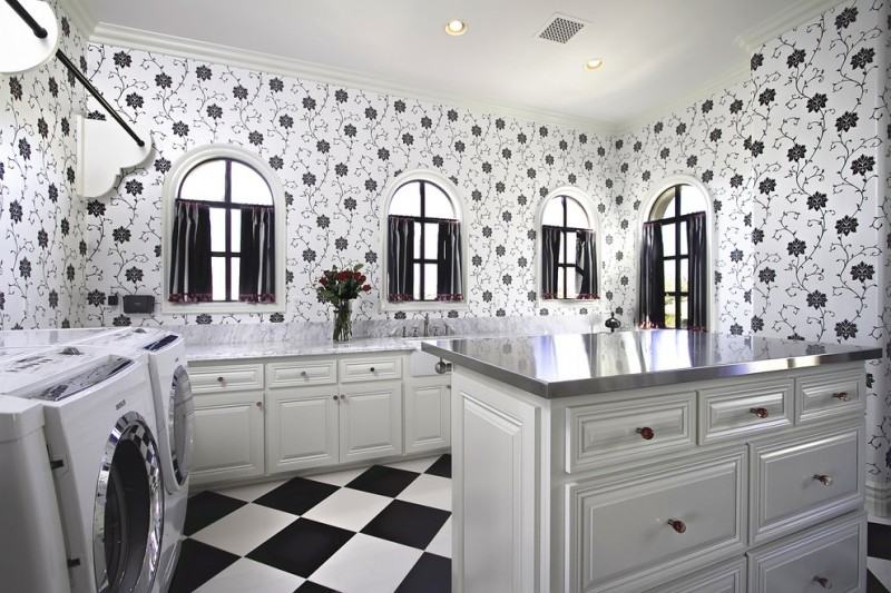 black and white room decorations flower patterned wall decoration small windows with black curtains white cabinets laundry room