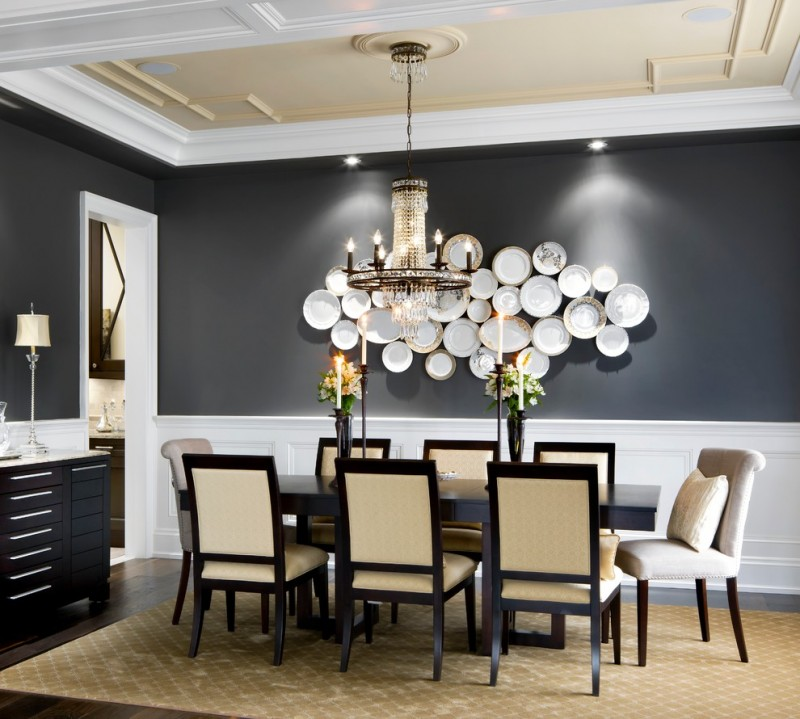 black and white room decorations uttermost shenrise silver buffet lamp wice chandelier black wall white plates arrangement wall decor brown rug dining set