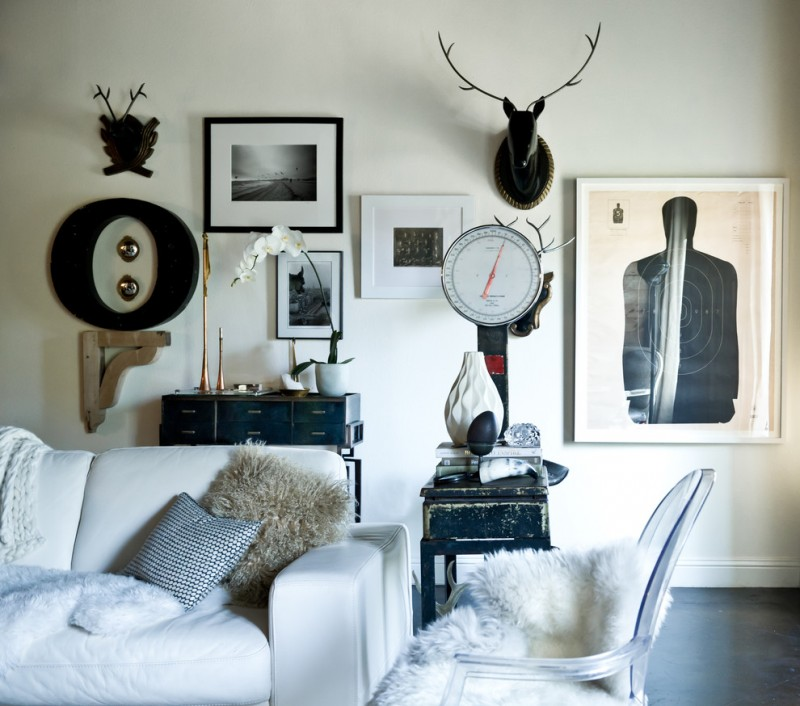 black and white room decorations white and black wall decoration white couch fluffy pillow small drawers black old wood side table