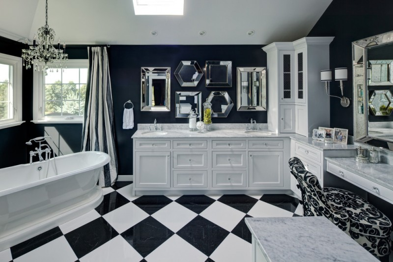 black and white room decorations white soaker bathtub contrasting tiles on a diagonal white cabinet patterned chairs nice rectangle mirror privacy window