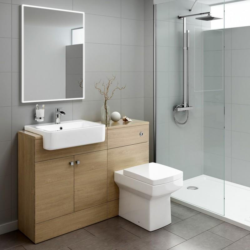 brown bathroom cabinet with zinc alloy handles tile floors and walls glass door shower room rectangular mirror