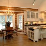 Cabin Designs And Floor Plans Chair Island Kitchen White Wall Cabinets Table Chairs Flowers Chandelier Elegant Rustic Kitchen