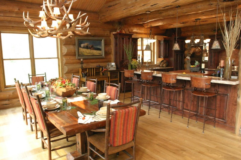 cabin designs and floor plans wood floor chairs table chandeliers wall cabinet painting logs rustic dining room