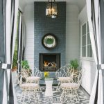 Chic Patio With Grey White Curtain Drapes