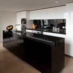 Compact Kitchen Units Black Gloss And White Kitchen Unit Black Fruit Bowl Black Backsplash Super Contemporary Kitchen