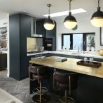 Compact Kitchen Units Bronze With Antique Brass Accents Light Pendants Charcoal Kitchen Over The Glamorous Side Art Frame Gold Touches