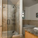 Cork Flooring For Bathroom Wood Cabinet Granite Vanity Top Glass Shower Door Mounted Shower Square Bathtub Small Window