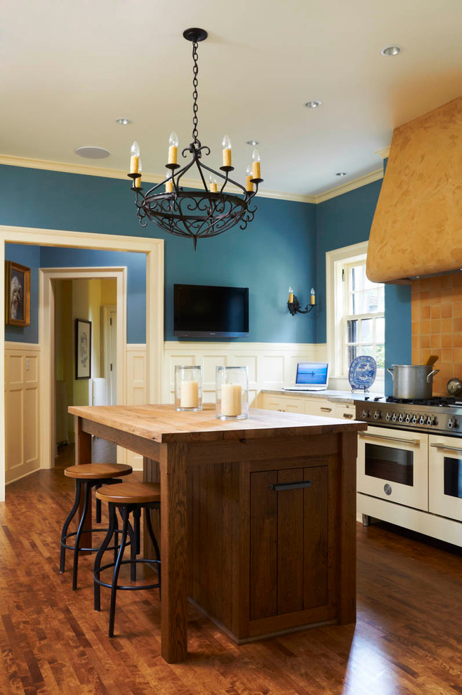 country kitchen paint color brown floor island stools chandelier wall tv stove window beautiful traditional kitchen