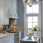 Country Kitchen Paint Color Chandelier Flowers Stove Wall Cabinet Ceiling Light Beautiful Floor Languid Blue Wall Traditional Kitchen