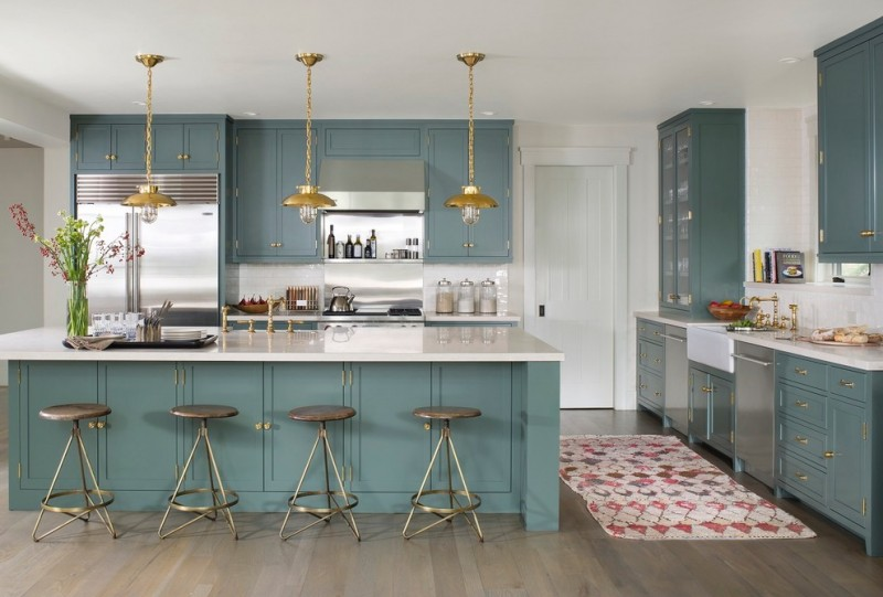 country kitchen paint color hanging lamps stools island fridge wall cabinets faucet stove glass front cabinet transitional kitchen