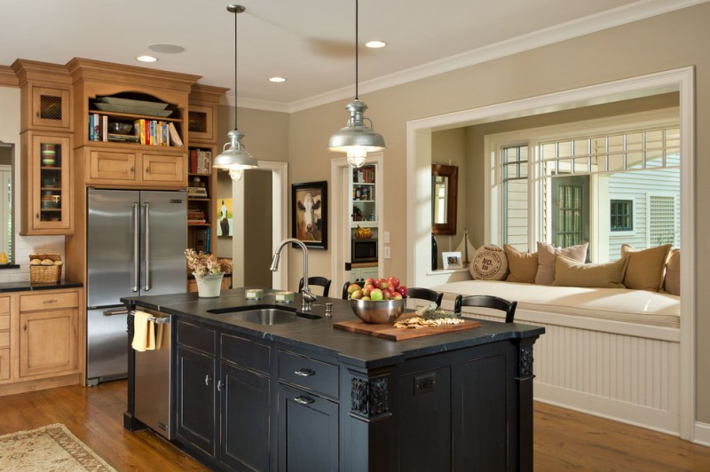 country kitchen paint colours island soapstone countertop pillows hanging lamps ceiling lights shelves chairs fridge books traditional kitchen