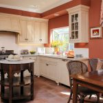 Country Kitchen Paint Colours Table Chairs Flowers Very Earthy Red Walls Round Top Island Window Wall Cabinets Painting Mediterranean Kitchen