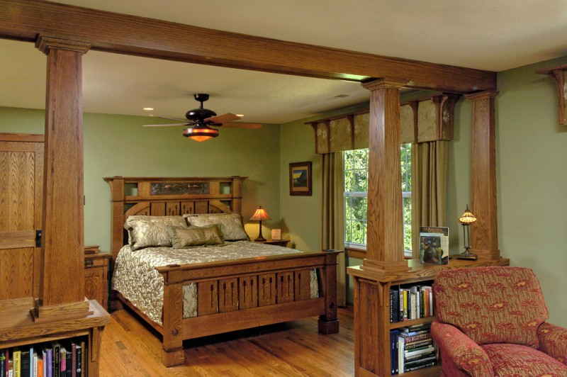 craftsman bedroom idea oak finished bed frame with handcrafted headboard textured & gloss silk bed treatment wooden gate with book shelves underneath