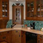 Craftsman Corner Cabinet Idea With Glass Door Craftsman Cabinets Blue Ceramic Tiles Backsplash White U Shaped Countertop