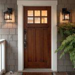 Craftsman Exterior Door A Couple Of Classic Exterior Lighting Fixtures Gray Subway Tiles Walls Decorative Front Mat