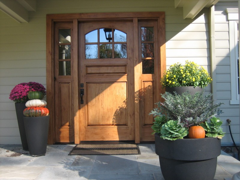 craftsman style front door flowers exterior traditional entry