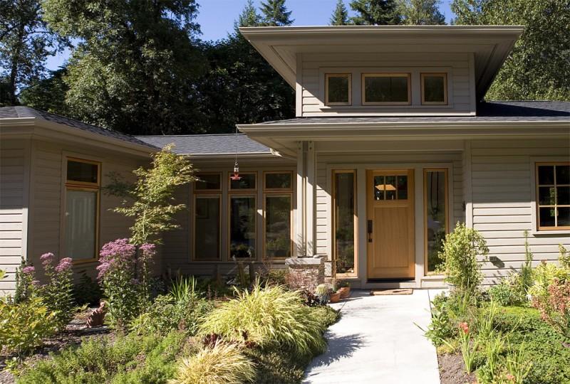 craftsman style front door flowers windows plants contemporary exterior