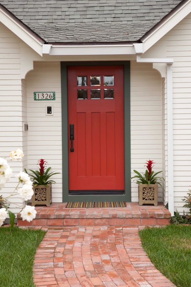 Craftsman Style Front Door Gr Flowers Whitw Wall Red Traditional Entry