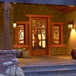 Craftsman Style Front Door Grass Stone Red Impressive Lighting Flowers Entry Area