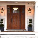 Craftsman Style Front Door Pillars Window Lamps Decorative Plants Beach Style Entry