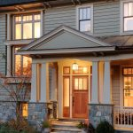 Craftsman Style Front Door Plants Railings Windows Cool Lamp House Exterior