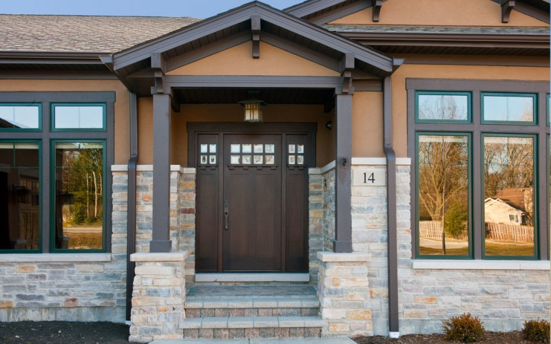 craftsman style front door windows stones glass house exterior entry area