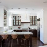 Design Your Own Kitchen Layout Mounted Refrigerator Cabinet Glass Kitchen Pendant U Shape Kitchen Countertop With Bar Area Wooden And Iron Bar Stools