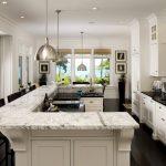 Design Your Own Kitchen Layout U Shaped Kitchen Island Marble Countertop White Cabinet Pratt Street Metal Pendant Light