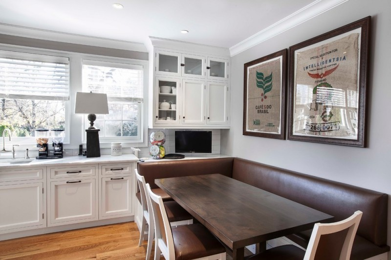 dining booth for home sectional bench table chairs framed painting white cabinets subway tile backsplash sink hardwood floors