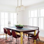 Dining Room Table With Bench And Chairs Carpet Windows Lamps Southwestern Style
