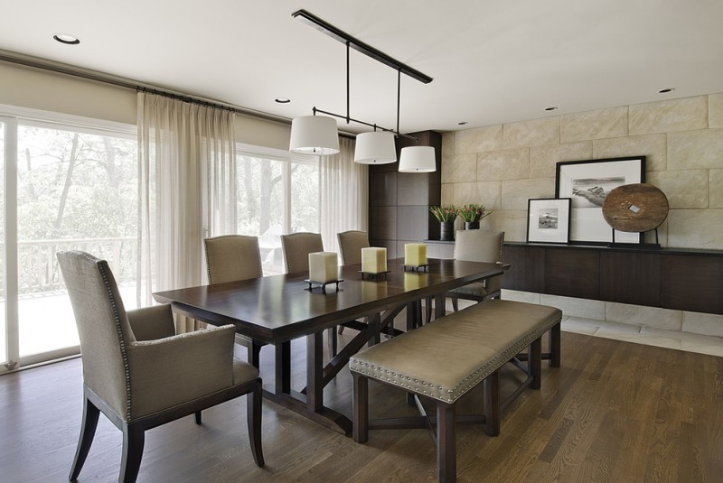 dining room table with bench and chairs cool lamps curtains plants contemporary dining room