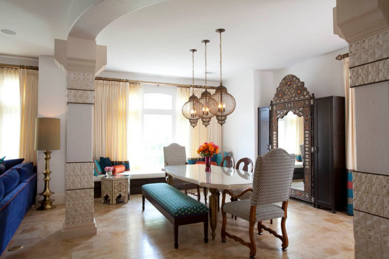 dining table with bench and chairs curtains flowers lamps windows cupboard mirror mediterranean room